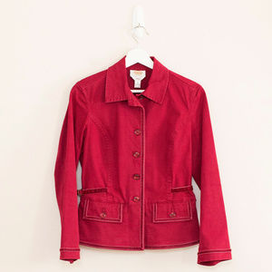 Talbots Red Velvet Trim Jacket 6P